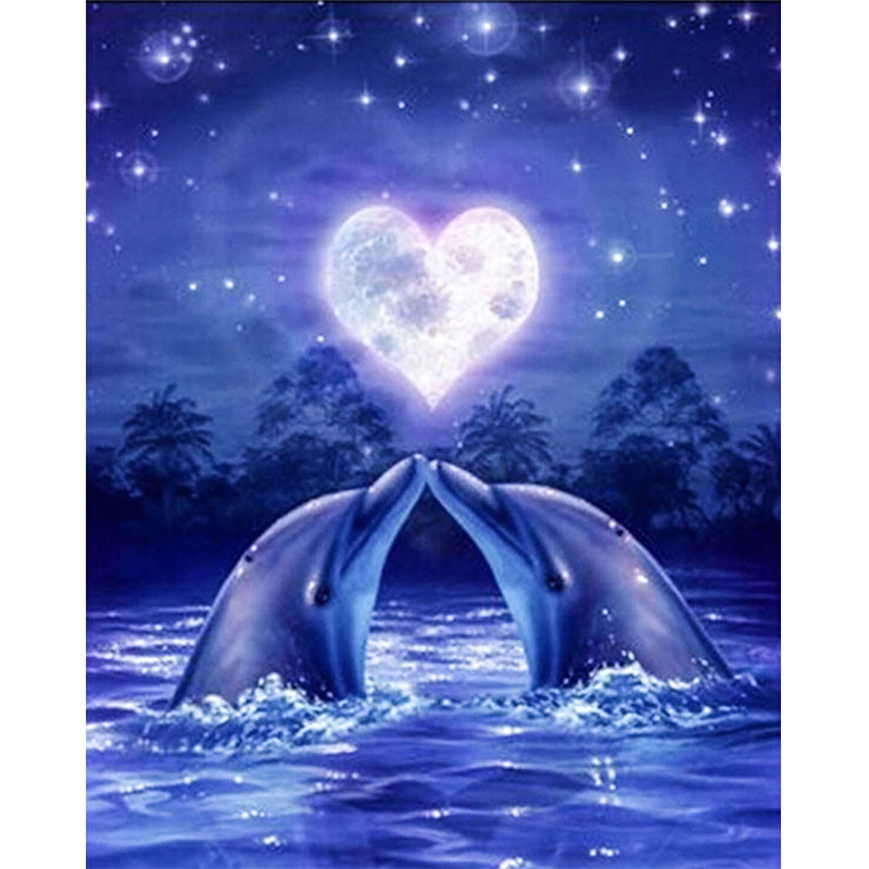 Diy 5d Diamond Mosaic Love Dolphin Full Diamond Painting