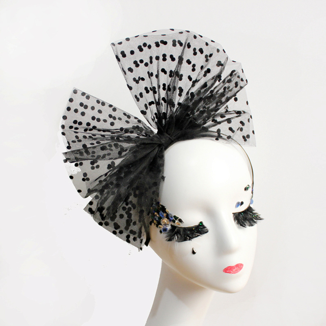 Gothic Women Big Bowknot Fascinator Lace Polka Dots Headband Cocktail Party  Wedding Fancy Dress Hair Accessories f87373f0161