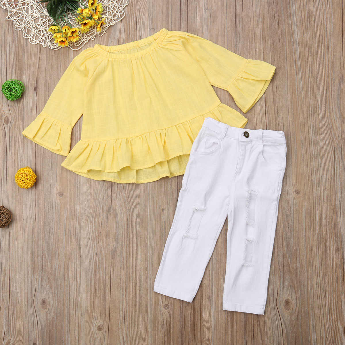Toddler Kids Baby Girls Flower Top Blouse Pants Leggings Outfits Set Clothes UK