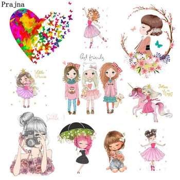 Prajna Fashion Beauty Girl Iron On Heat Transfers Unicorn Ballet Cartoon Vinyl Ironing Sticker Clothes T-shirt