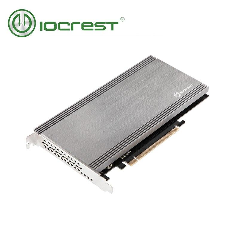 IOCREST PCIe 3.1x16 à 2 port M.2 (M-Clé) nvme Adaptateur carte Asmedia2824 chipset