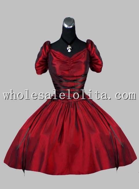 Gothique vin rouge robe courte victorienne