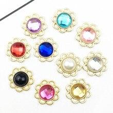 10pcs/lot 15mm Flower Rhinestone Acrylic Buttons Flat back Gold Base Wedding Invitation Girl Hair DIY Accessories scrapbooking