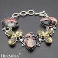 Hermosa jóias charme moda escultura rosto humano morganite 925 pulseiras de prata esterlina 6.5 polegadas ajustável hm361