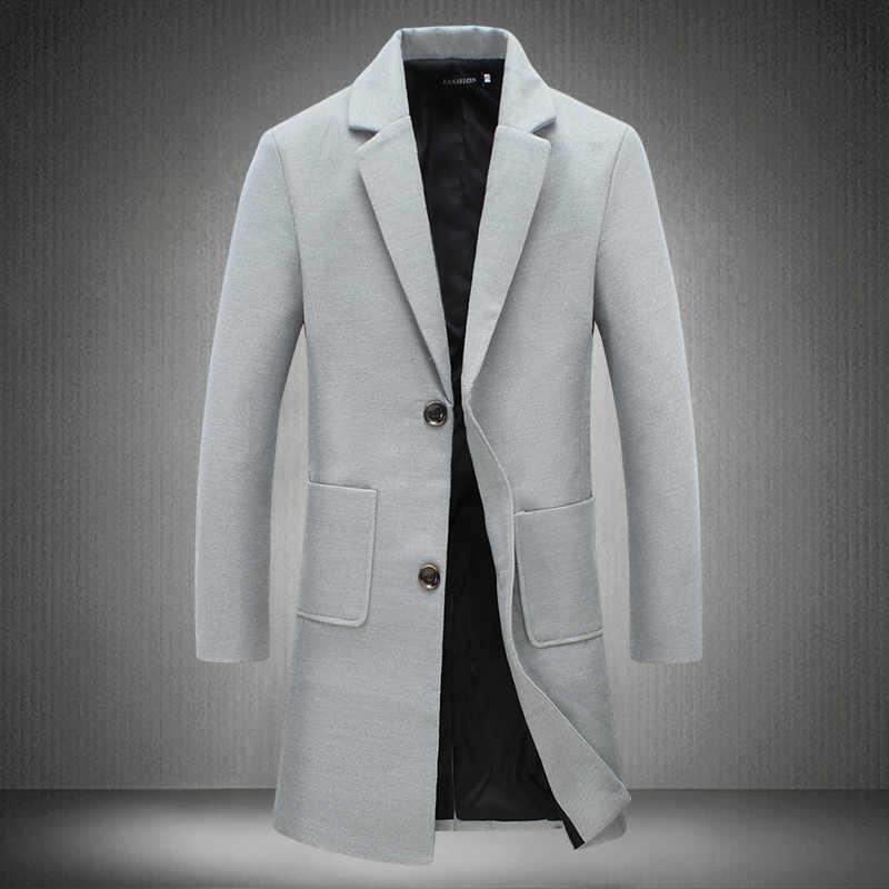 2019 חדש סתיו חורף תעלת מעיל גברים תורו למטה צווארון Slim Fit מעיל לגבר ארוך מעיל מעיל רוח 5XL