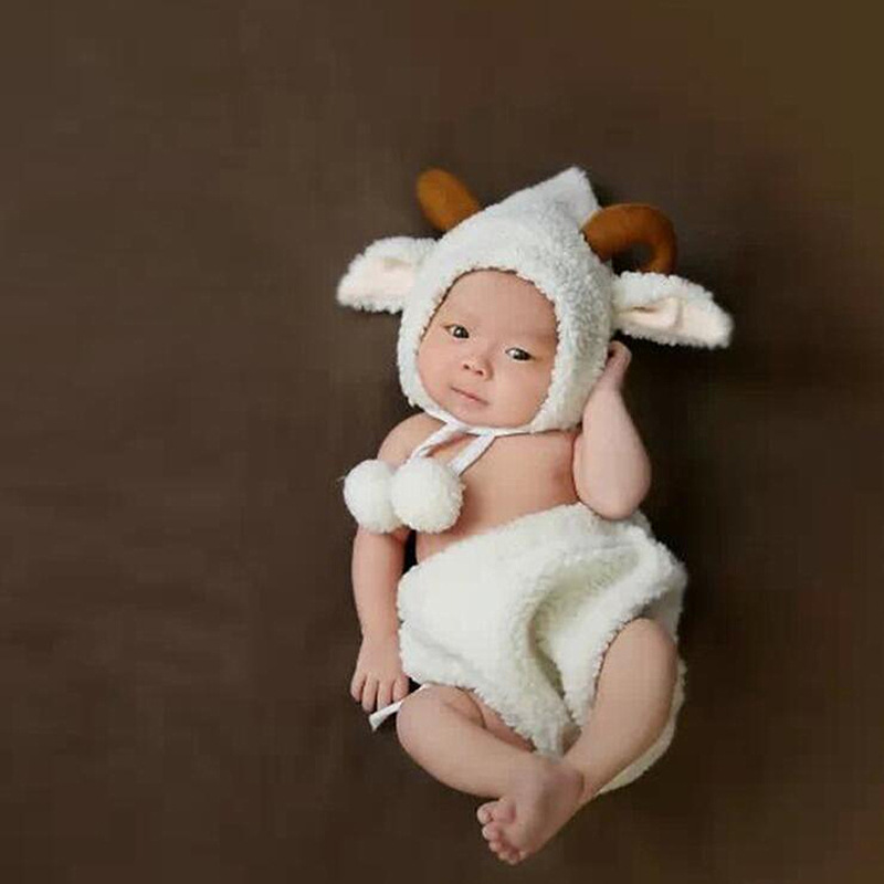 Fashion White Baby Girl Boy Photo Costumes Clothes Newborn Pictures Clothing Animal Sheep Goat Set Outfits    -