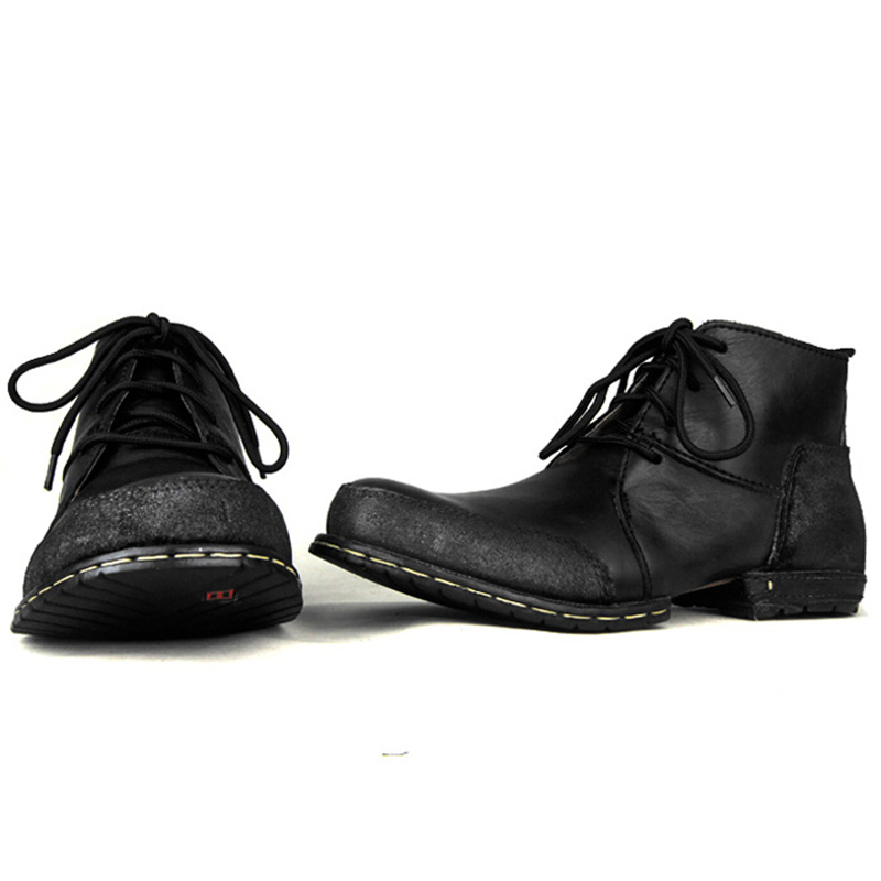 Travail Western dark 2 Américaine De Couleurs Cuir Formelle Hommes Chaussures Bottines Black Robe Lacets Brown Taille En Véritable À D'hiver tQrChxsd