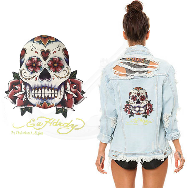 Rose Skull Stickers 25 Iron On Patch T Shirt