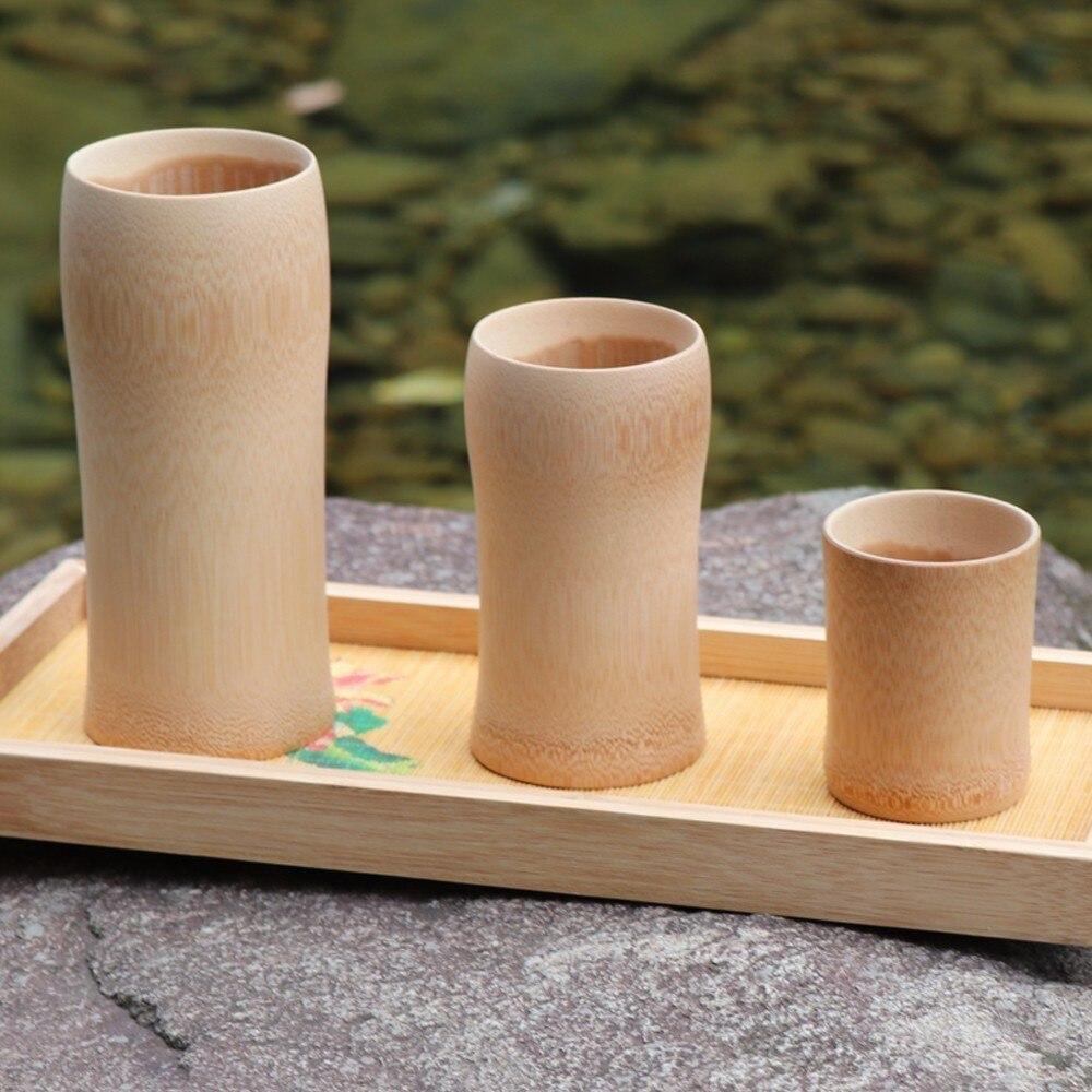 Tazas de té de bambú natural vaso de cerveza de café vino leche cocina vintage servicio de té chino taza de madera aislado pequeño regalo
