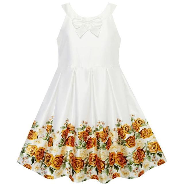 c7741853c80f Flower Girl Dress Yellow Rose Pleated Hem Wedding Pageant Party ...
