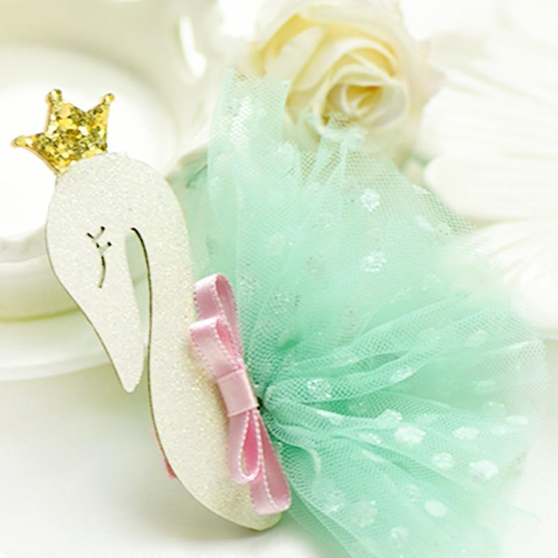 6870c0906373a BalleenShiny Baby Girls Swan Gauze Crown Cute Sweet Hair Clips ...