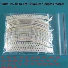 33valuesX 20pcs=660pcs 0603 0805 1206 Resistor Kit Assorted 1R to 1M ohm 1% SMD Sample Kit DIY 3.3R 5.1R 10R 47R 62R 82R 1K 10K