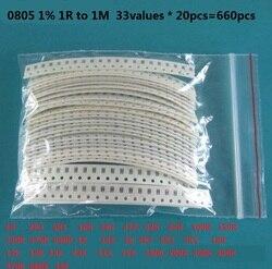 Набор резисторов 33valuesX 20 шт. = 660 шт., набор резисторов 0603, 0805, 1206, ассорти 1 об/1 м ом, 1% SMD, набор образцов DIY 3.3R 5.1R 10R 47R 62R 82R 1K 10K