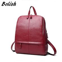 Bolish Women Vintage PU Mochila Female Daily Shopping Backpack Lady Causal Laptop Rucksack All-Purpose Preppy Style Dames Tassen