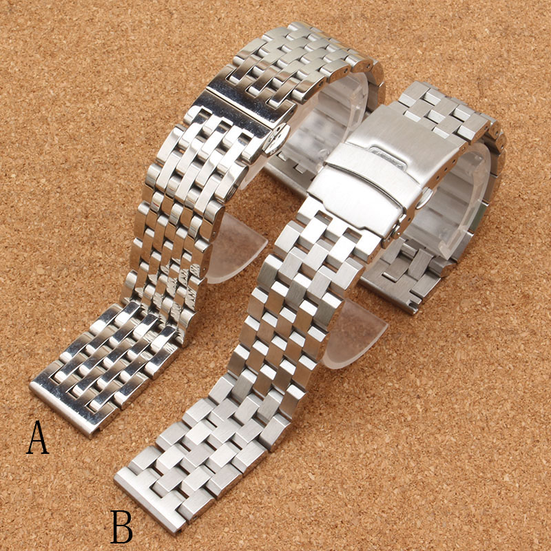 Watch band 20mm 22mm Silver Stainless Steel Watchbands Strap Straight End Bracelet For Smart Watch gear s3 matte polished typeS watch band 20mm 22mm black silver stainless steel watch band strap straight end bracelet for smart watch gear s3 matte unpolish