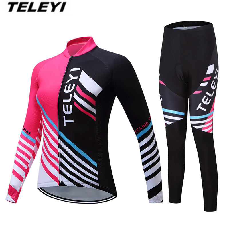 TELEYI MTB Bike jersey Bib Pants Set Women Cycling clothing Suit Ropa Ciclismo Maillot trouser Riding Long Sleeve Jacket Pink