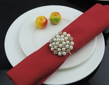 Golden Napkin Rings with Pearls 10 pcs/Set