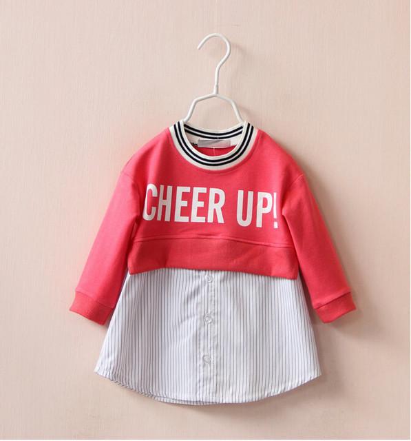 Y1342326 Retail 2015 Nueva Chica de Moda Otoño Sudaderas Con Capucha de La Manga Completa Patchwork Camisa de Rayas Cheer up Girl Sudaderas Capa de La Muchacha