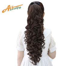 Allaosify Hair 22'' Long Curly Ponytail For Black Women Wine Red Hair Heat Resistant Synthetic Fake Hair Pieces(China)