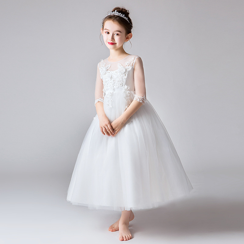 Lovely   Flower     Girl     Dresses   For Weddings Party Ball Gown Beaded Appliques Bow Sashes Cute Children Holy Communion Dresse 2019
