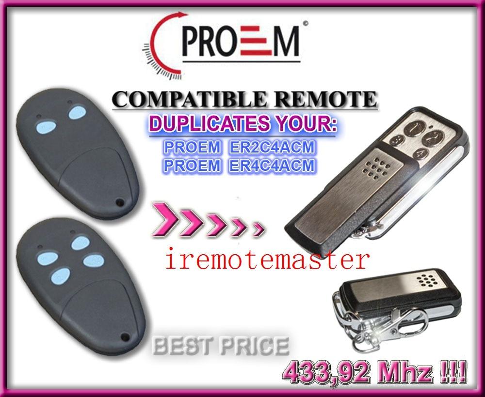 Replacement remote for PROEM ER2C4ACM,ER4C4AEM 433MHZ alltronik replacement remote s429 1 433mhz s429 2 433mhz s429 4 433mhz s429 mini 433mhz