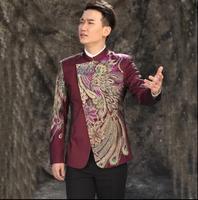 Abiti da uomo disegni del collare del basamento uomini sequin giacca danza costumi di scena per cantanti vestiti giacca stella stile inghilterra punk viola