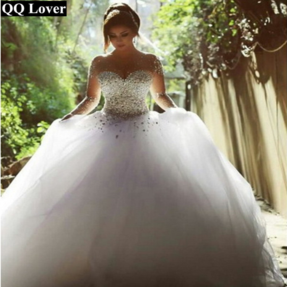 QQ Lover Illusion Pearls Ball Gown Wedding Dress 2019