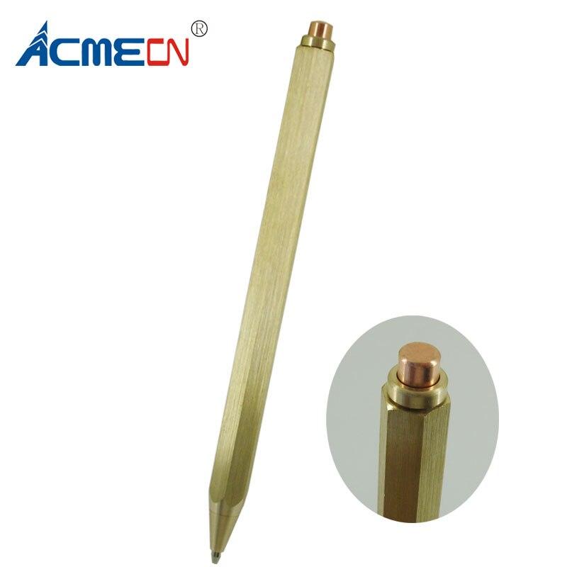 Acmecn Nieuwe Zeshoekige Messing Pen Push Klik Zwarte Inkt Refill 1.0mm Schrijven Punt 38g Metalen Messing Goud Zware Push Balpen
