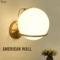 American Simple Frosted Glass Lampshades And Plate Metal Led Wall Lamp Bedroom Warm Hearted Wall Lamp