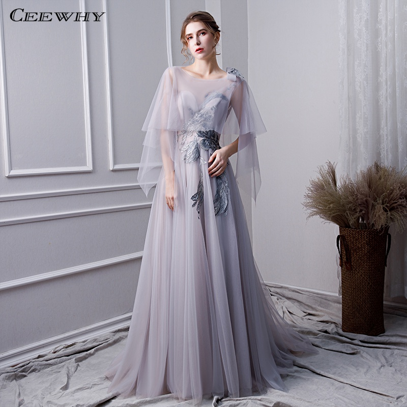 CEEWHY Long Prom   Dresses   Robe de Soiree Lace Beaded Embroidery Tulle   Evening     Dress   Ruffles Party Gown robe de soiree longue 2019