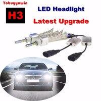 2PCS H3 80WCREE LED Headlight Kit 6000K Super Bright White High Low Beam Bulbs LED Headlamp