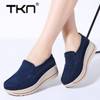 Women Winter Flats Shoes Platform Sneakers Suede Leather Slip on Shoes Casual Tenis Feminino Flats Creepers Moccasins Woman 3507