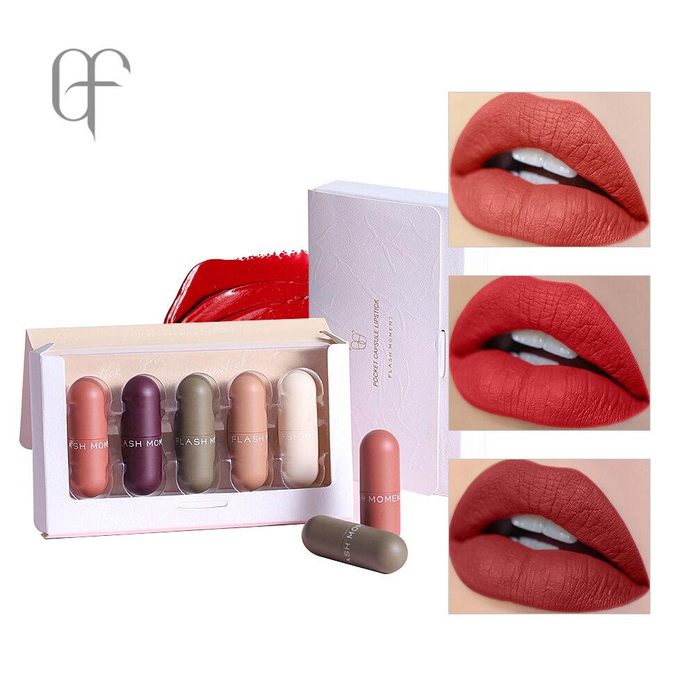 FlashMoment Lipstick Matte Lip Stick Waterproof Natural Color Lipsticks Pigment Women Cosmetics Lipstick Lips Make Up 5pcs set