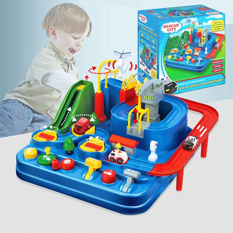 2018 nouveau jeu drôle aventure piste course voiture jouets combinaison tour de contrôle Compatible avec le souci Duploe idée cadeau jouets pour enfants