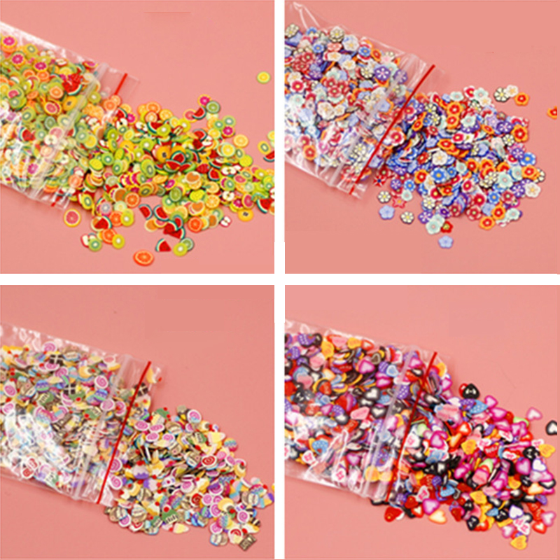 High Quality 1000pcs/pack Nail Art 3D Fruit Fimo Slices Polymer Clay DIY Slice Decoration Nail Sticker Mixed Stypes 1000pcs pack 3d fimo nail art decorations fimo canes polymer clay canes nail stickers diy 3mm fruit feather slices design zj1202