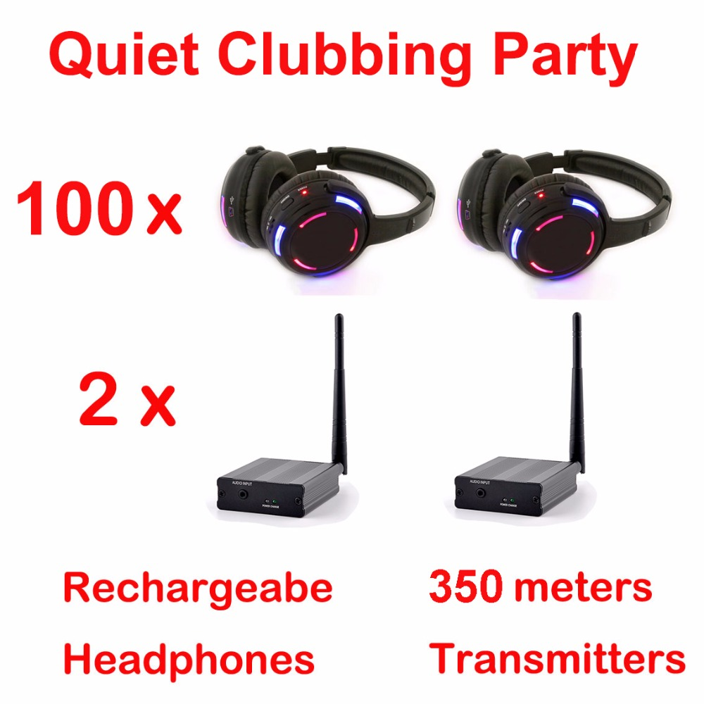 Silent Disco complete system black led wireless headphones - Quiet Clubbing Party Bundle (100 Headphones + 2 Transmitters)