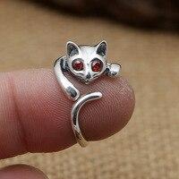 Fábrica atacado S925 prata esterlina jóias de prata Retro olhos vermelhos delicado e encantador senhora do gato Weijie