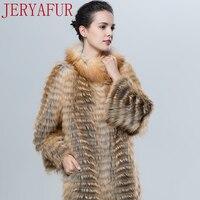 Jeryafur2017 российских женщин зимняя куртка пальто с мехом лисицы ручной одежда Меховая одежда пальто с мехом Красный длинное пальто длинные мо