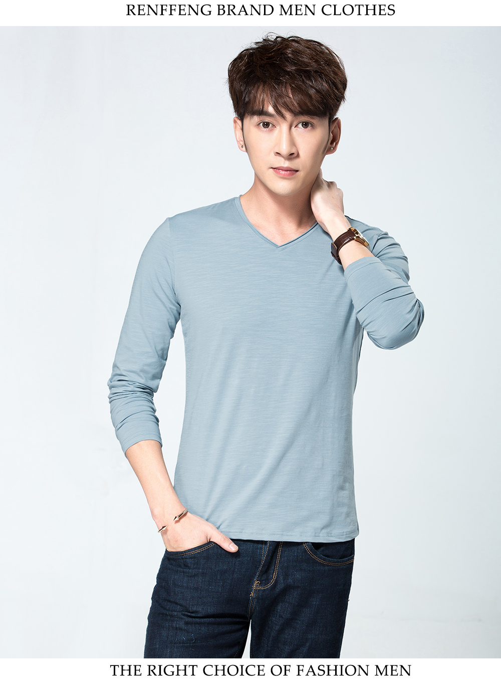 High-Neck Mercerized Modal Long-Sleeved Conjoined Knit Shirt Tight-Fitting Bottoming Shirt