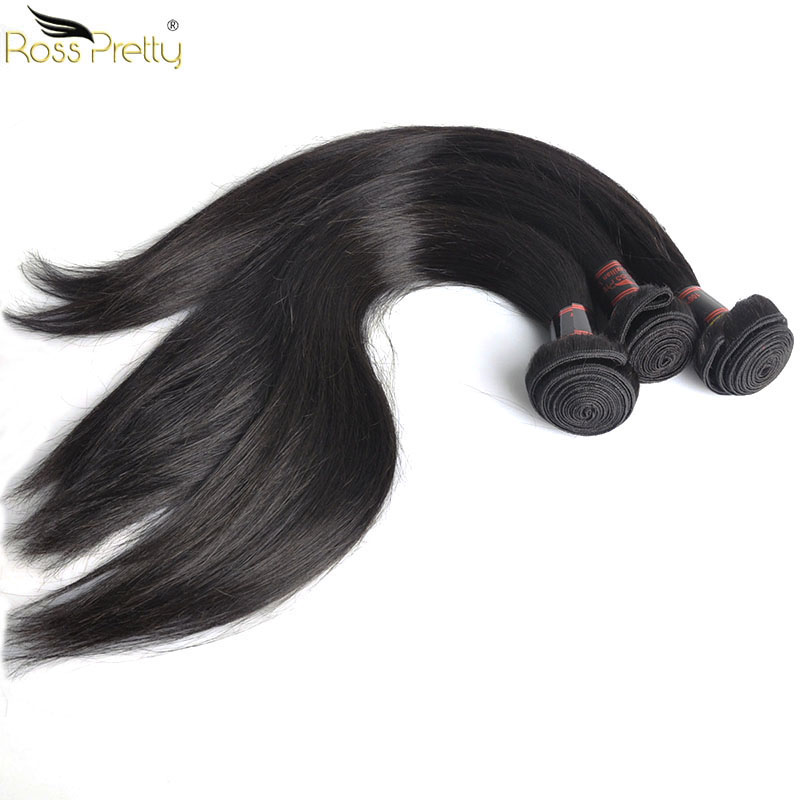 3/4 Bundles With Closure Hair Extensions & Wigs Human Hair Bundles With Frontal Transparent 13x6 Pre Plucked Lace Frontal With Bundles Nature Color 1b Ross Pretty Remy Hair