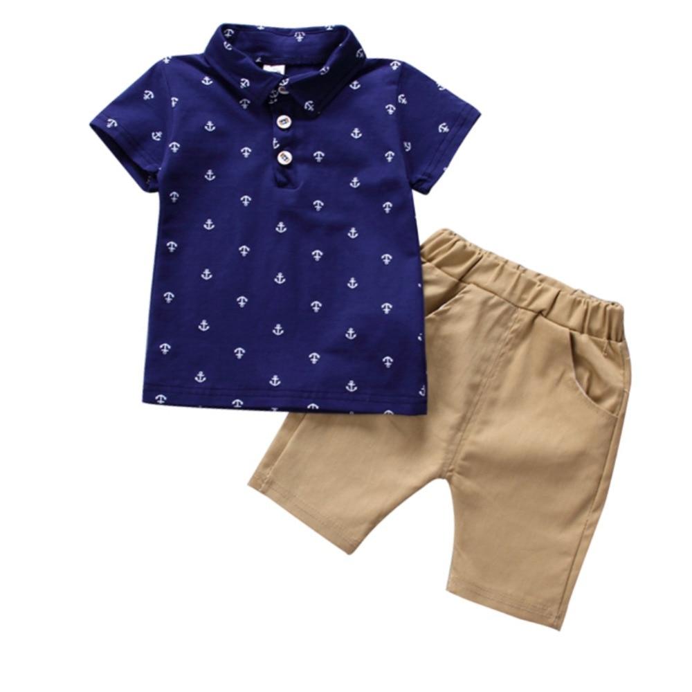 Summer Children\'s Clothing Short-sleeved Lapel T-shirt + Pants Two Sets