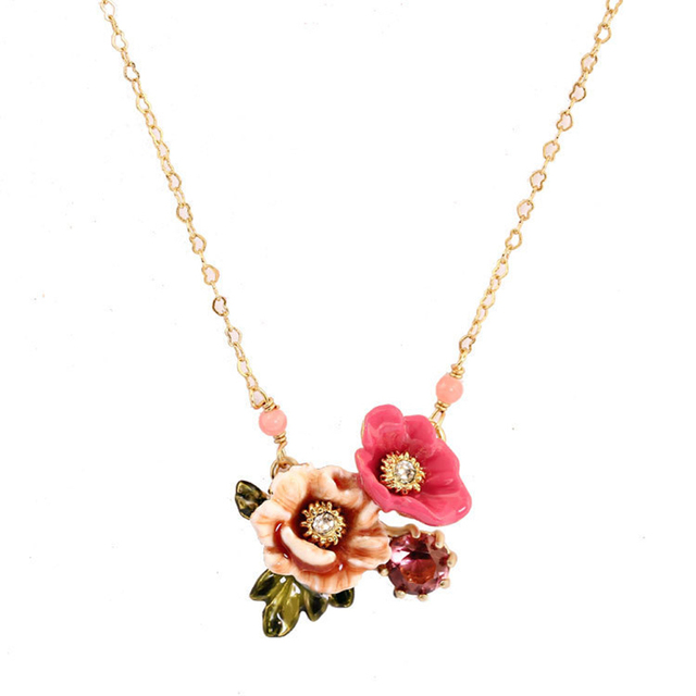 Winter Garden Pink Colour Chinese Herbaceous Peony Two-tone Flower Diamond Necklace Clavicle Chain Woman Sweet Princess Fund