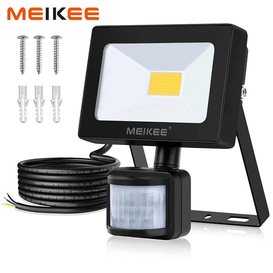 MEIKEE 10W LED Flood Light Motion Sensor Waterproof AC110V 220V LED Floodlight Projector Reflector Lamp Outdoor Halogen Light