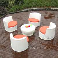 5 pcs Metal Frame And White Poly Rattan Obelisk Chair For Beach / Balcony transport by sea