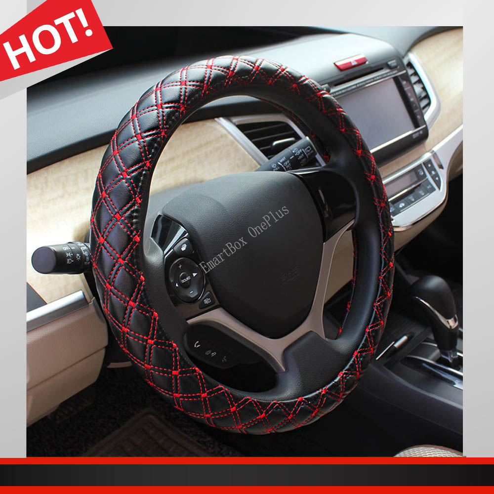 Car Styling Steering Wheel Car-Cover Diameter 38cm Imitation Leather Plaid Black Red Car Steering Wheel Cover Car Interior