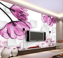 beibehang Home decoration wallpaper purple flowers 3D stereo box TV backdrop can be customized 3d papel de parede