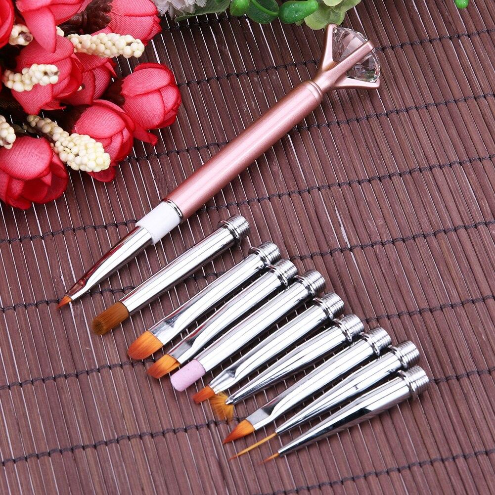 1 Satz Nagelkunstfeder Pinsel 1 Metall Griff + 10 Verschiedenen ...