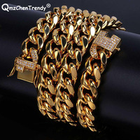 Stainless Steel High Quality Electroplated Micro Studded CZ Clasp Miami Cuban Chain Necklace Men High Polished