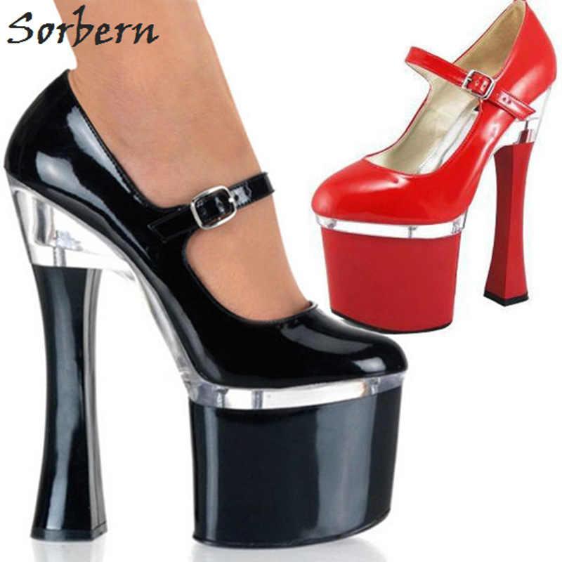 Sorbern 18Cm kwadratowe wysokie obcasy kobieta buty pompy Mary Janes okrągłe Toe 8Cm platforma Chunky Heeled damskie szpilki buty 2018 nowe