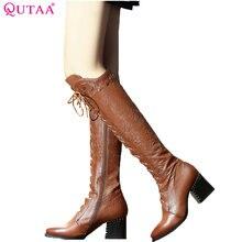 Qutaa/2018 г. Для женщин выше сапоги до колена из коровьей кожи Модные Кружево на шнуровке острый носок Универсальные женские мотоциклетные ботинки размер 34–39